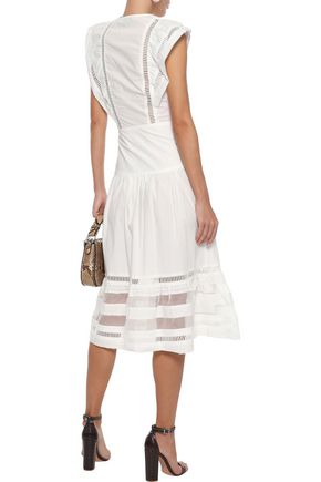 SEA Capri organza-paneled cotton-poplin midi dress
