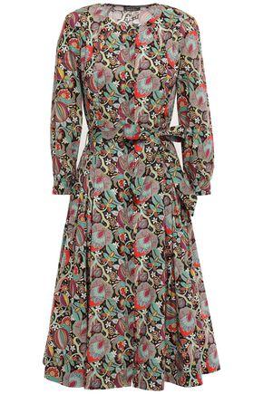 ZAC POSEN Belted printed cotton-poplin dress