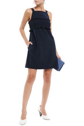 TIBI Ruffle-trimmed cady mini dress