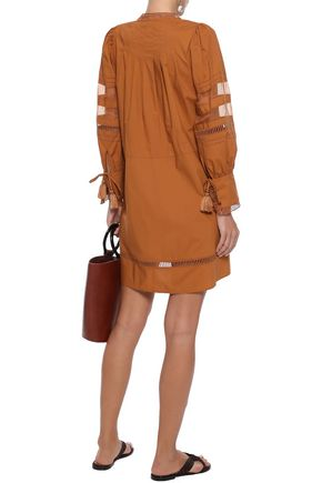 SEA Capri organza-paneled cotton-poplin mini dress