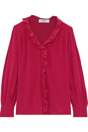 SEA Solange ruffle-trimmed silk crepe de chine blouse