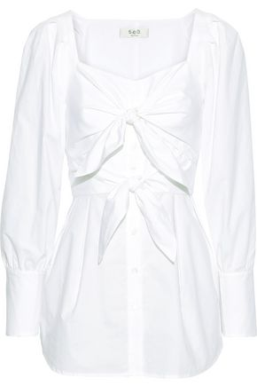 SEA Knotted cotton-poplin blouse