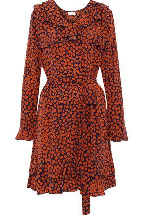 ANINE BING Paloma ruffled printed silk crepe de chine mini dress