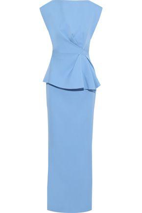 RACHEL GILBERT Adelaide ruffled satin-crepe peplum gown