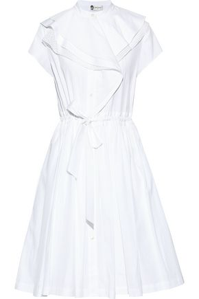 LANVIN Tie-front ruffled cotton-poplin shirt dress