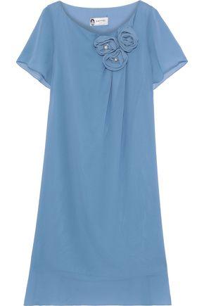 LANVIN Floral-appliquéd silk-georgette dress
