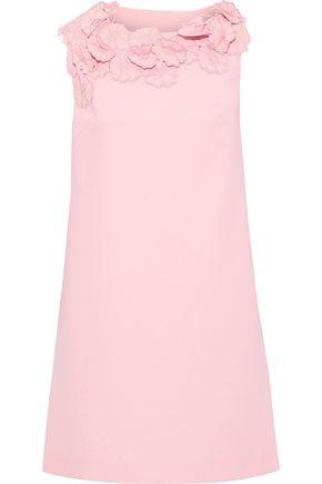 LANVIN Floral-appliquéd wool-crepe mini dress