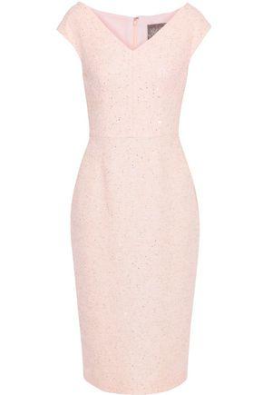 LELA ROSE Sequin-embellished tweed dress