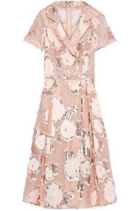 LELA ROSE Metallic fil coupé organza-jacquard midi dress