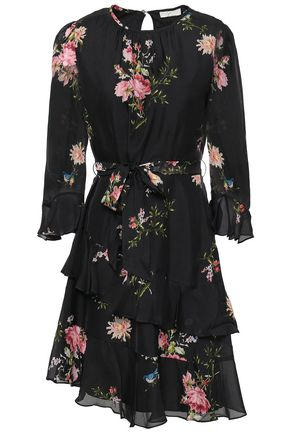 JOIE Belted floral-print silk mini dress