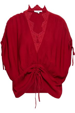 IRO Broderie anglaise-trimmed ruched woven top