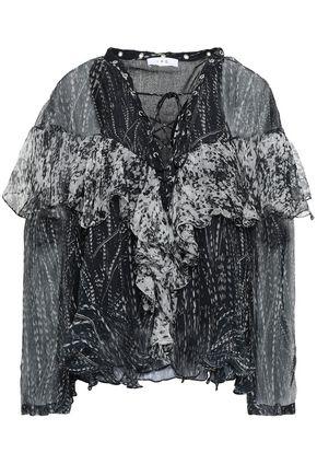 IRO Lace-up printed crinkled gauze blouse