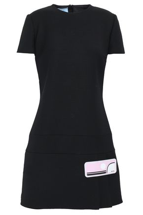 PRADA Appliquéd wrap-effect wool mini dress
