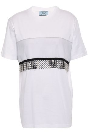 PRADA Chainmail-embellished cotton-jersey T-shirt