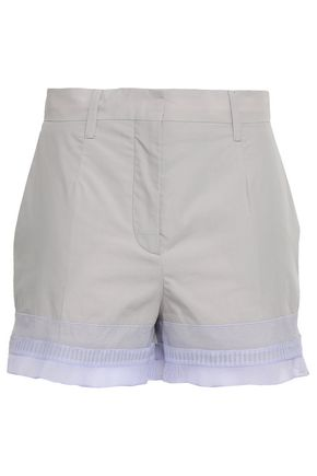 PRADA Pleated organza-trimmed cotton shorts