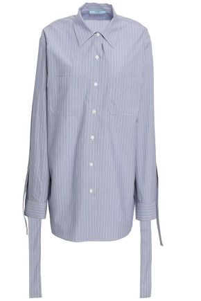 PRADA Tie-detailed striped cotton-poplin shirt