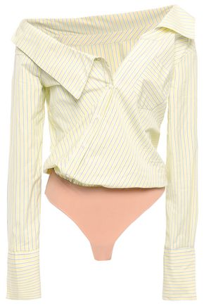 ALIX Striped cotton-poplin and jersey bodysuit