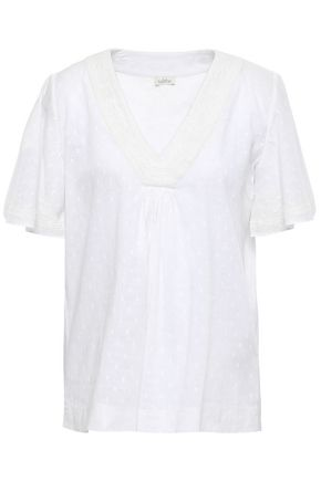 TALITHA Embroidered cotton-gauze top