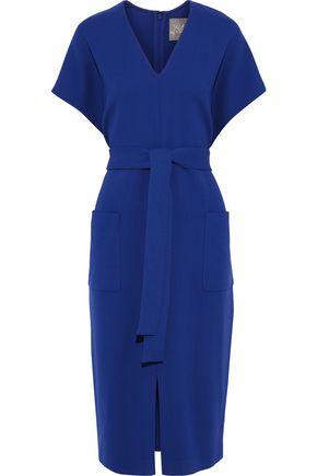 LELA ROSE Tie-front wool-blend crepe dress