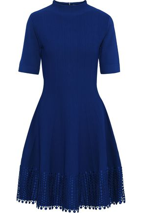 LELA ROSE Flared guipure lace-trimmed stretch-knit dress