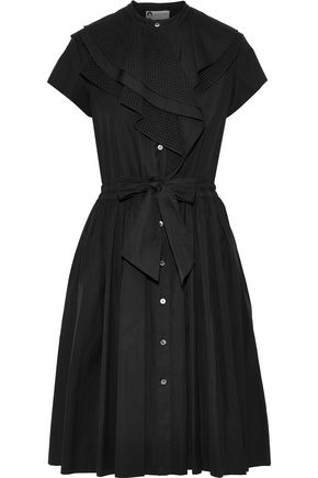 LANVIN Tie-front ruffled cotton-poplin shirt dress
