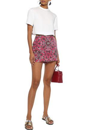 TALITHA Amber satin-trimmed printed silk crepe de chine shorts