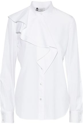 LANVIN Ruffled cotton-poplin shirt