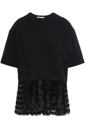 J.W.ANDERSON Organza-trimmed French cotton-terry T-shirt