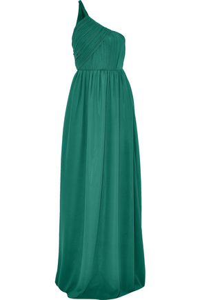 LANVIN One-shoulder plissé silk-georgette gown