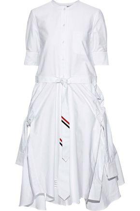 THOM BROWNE Asymmetric tie-front cotton-poplin shirt dress