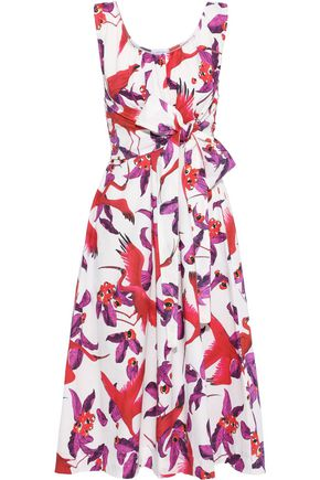 ISOLDA Silvia belted printed stretch-cotton poplin midi dress