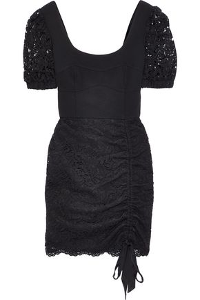 REBECCA VALLANCE Le Saint cady-paneled corded lace mini dress