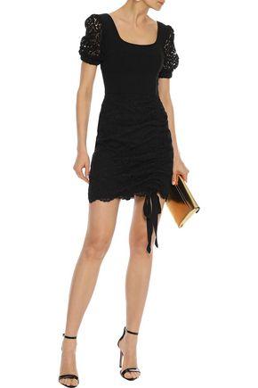 REBECCA VALLANCE Le Saint cady-paneled corded lace mini dress
