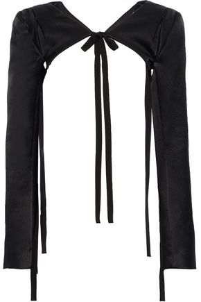 ANN DEMEULEMEESTER Cropped bow-detailed cotton-blend satin jacket