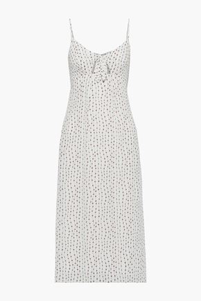 LA LIGNE Knotted cutout printed crepe de chine midi dress
