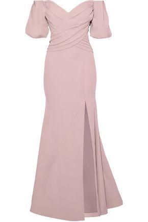 RACHEL GILBERT Amalia off-the-shoulder split-front crepe gown