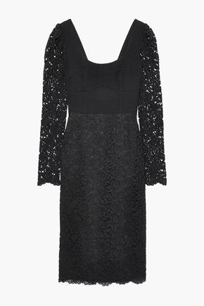 REBECCA VALLANCE Le Saint cady-paneled corded lace dress