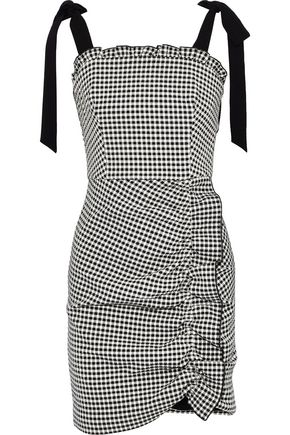 REBECCA VALLANCE Brigitte ruched gingham cotton-blend seersucker mini dress