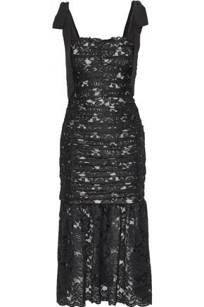 REBECCA VALLANCE Betty bow-detailed ruched lace midi dress