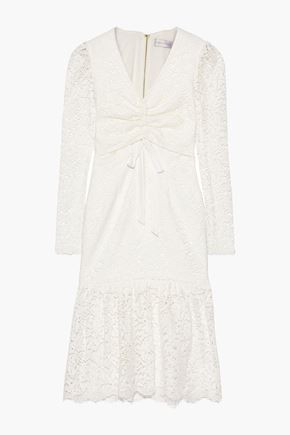 REBECCA VALLANCE Ruched corded lace dress