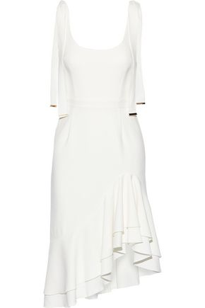 REBECCA VALLANCE De Jour asymmetric ruffled textured-crepe dress