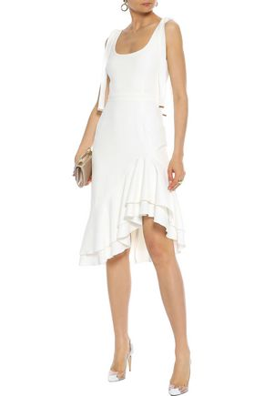 REBECCA VALLANCE De Jour asymmetric ruffle-trimmed stretch-crepe dress