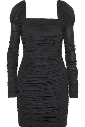 REBECCA VALLANCE Frenchie ruched stretch-mesh mini dress