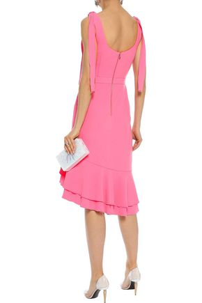 REBECCA VALLANCE De Jour asymmetric ruffled stretch-crepe dress