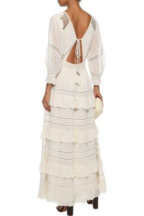 LOVE SAM Papillon point d'esprit-paneled tiered Swiss-dot chiffon maxi dress