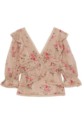 LOVE SAM Lace-trimmed ruffled floral-print voile blouse