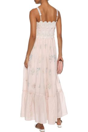 LOVE SAM Daisy guipure lace-appliquéd embroidered cotton and silk-blend maxi dress