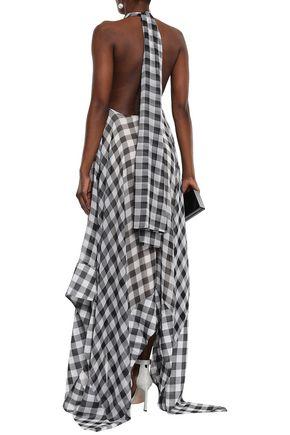 SOLACE LONDON Asymmetric gingham gauze halterneck maxi dress