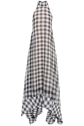 SOLACE LONDON Asymmetric gingham gauze halterneck maxi dress