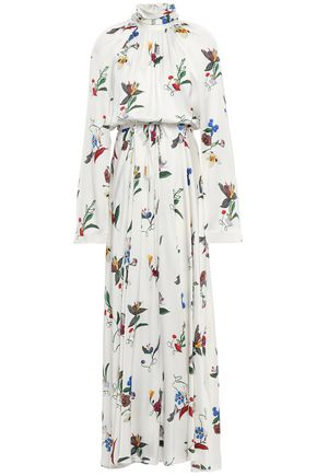 SOLACE LONDON Akan floral-print satin turtleneck maxi dress